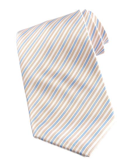 Striped Tie, White/Blue