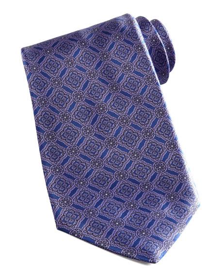 Medallion-Grid Silk Tie, Blue/Purple