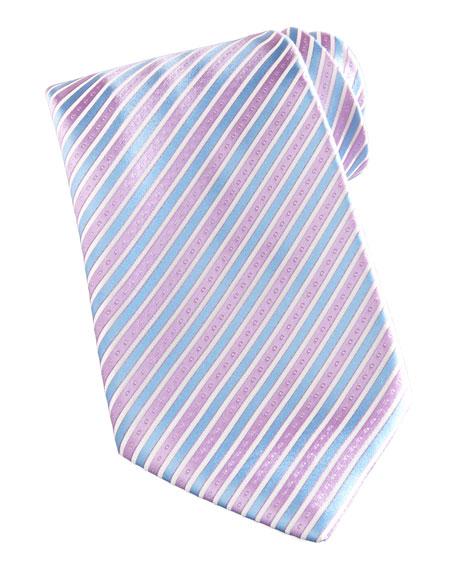 Striped Silk Tie, Blue/Lavender