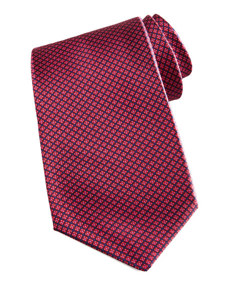 Micro Grid Silk Tie, Red/Navy