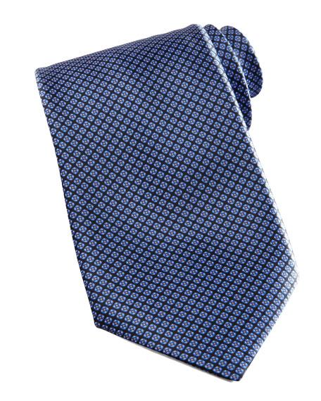 Micro-Grid Silk Tie, Navy/Blue