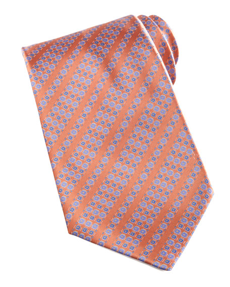 Neat-Pattern Silk Tie, Orange