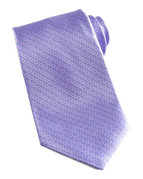 Tonal-Grid Silk Tie, Lavender