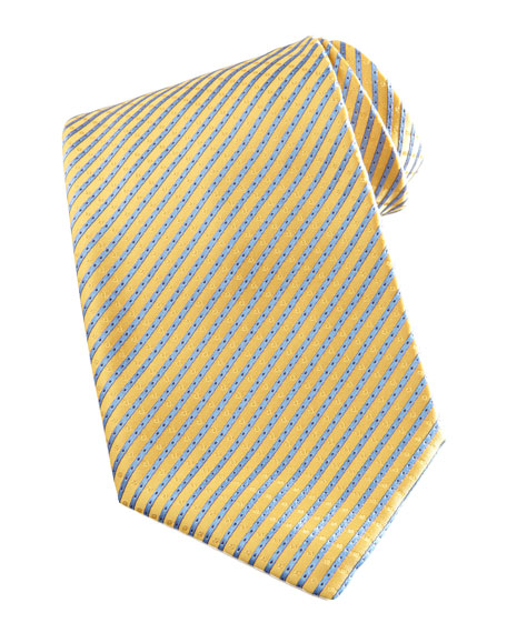 Narrow Striped Silk Tie, Yellow/Blue