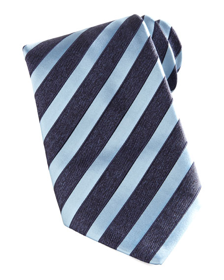 Wide-Stripe Silk Tie, Navy/Light Blue