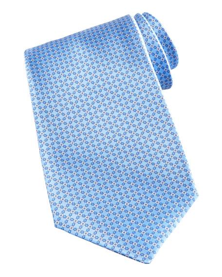 Circle-Link Neat Tie, Light Blue