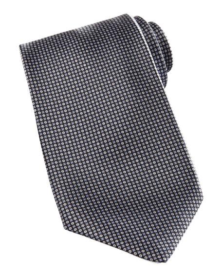 Neat-Print Silk Tie, Gray