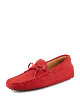 Tod's Suede Tie Driver, Red