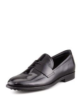Tod's Driver-Sole Leather Penny Loafer, Black