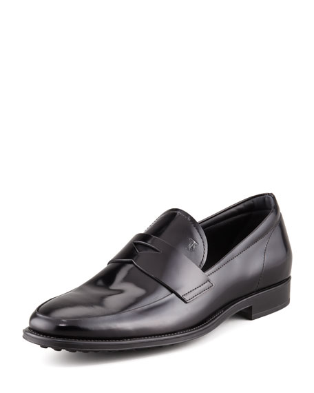 Driver-Sole Leather Penny Loafer, Black