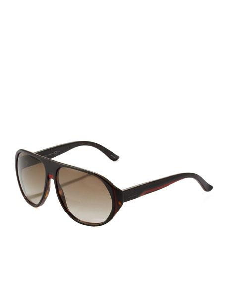 Web Plastic Aviator Sunglasses, Havana
