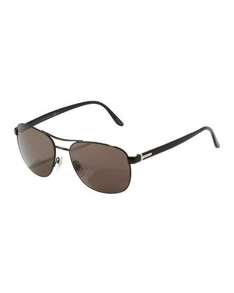 Metal Navigator Sunglasses, Shiny Black