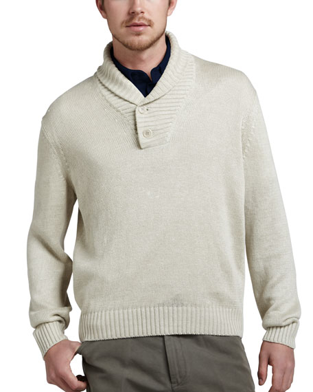 Linen Shawl-Collar Sweater