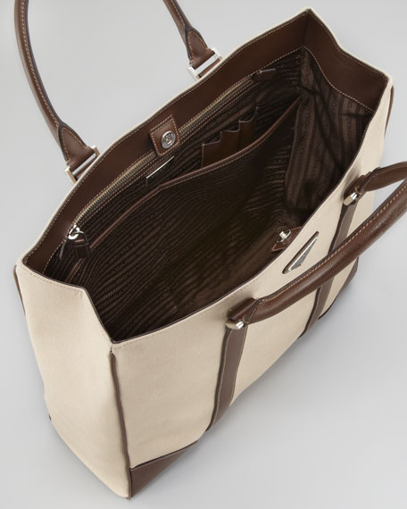 Canvas Leather Tote Bag, Beige/Brown
