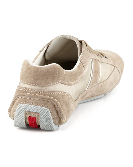 Low-Profile Nylon-Suede Sneaker, Tan