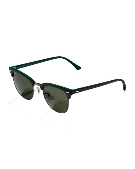 Clubmaster Sunglasses, Dark Tortoise/Green