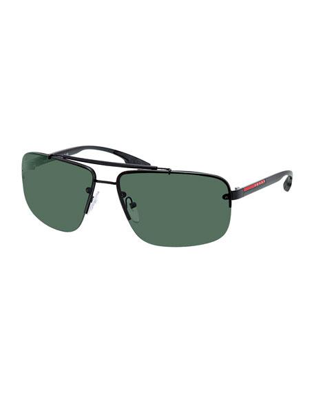 Rectangular Metal Sunglasses
