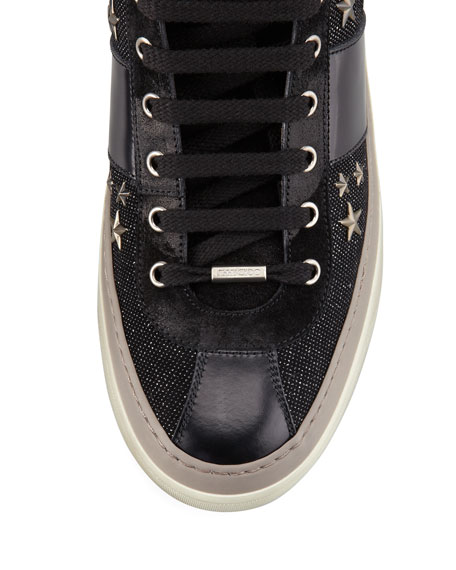 Star-Studded Hi-Top Sneaker, Black/Gunmetal