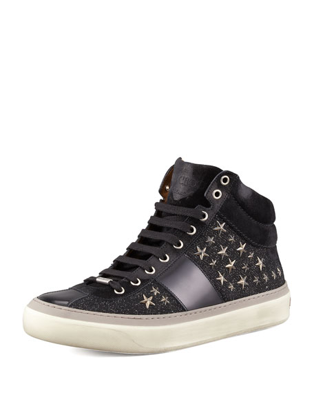 Jimmy Choo Star-Studded Hi-Top Sneaker, Black/Gunmetal