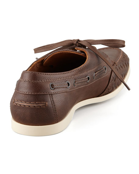 Woven-Edge Boat Shoe, Brown