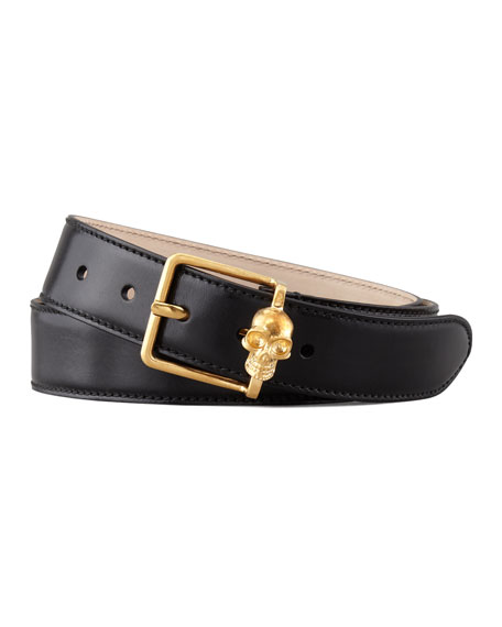 Skull Buckle Leather Belt, Black