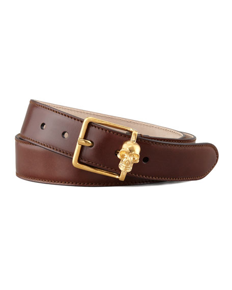 Skull Buckle Leather Belt, Tan