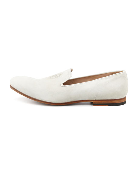 Suede Skull-Embossed Loafer, Pale Grey