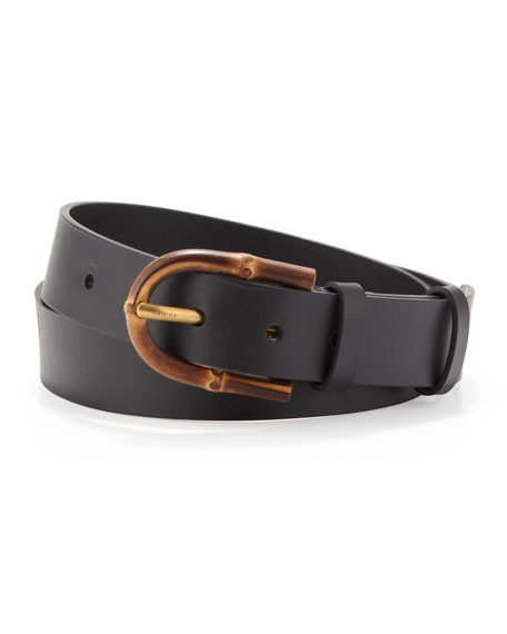 Bamboo-Buckle Leather Belt, Black