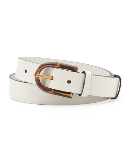 Bamboo-Buckle Leather Belt, White