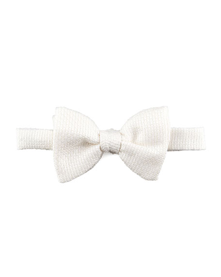 Grenadine Textured Silk Bow Tie, Cream