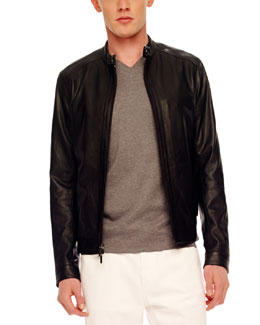 MICHAEL KORS Pieced Leather Jacket