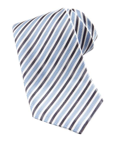 Striped Silk Tie, Light Blue/Navy