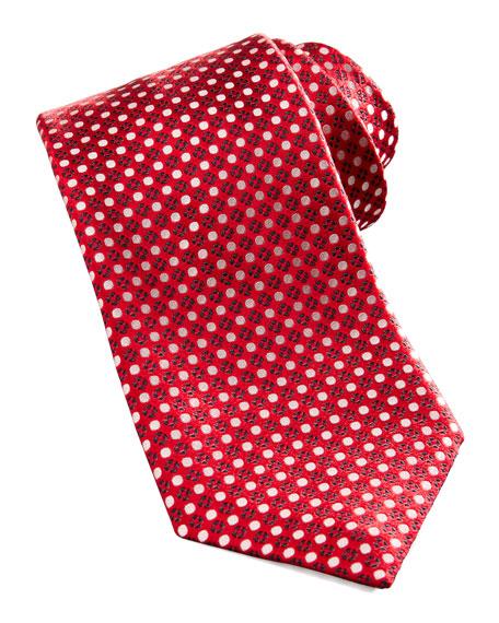 Dot & Floral Silk Tie, Red