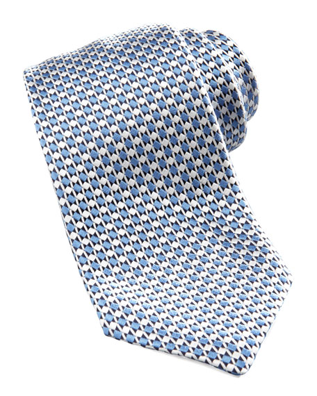 Geometric Silk Tie, Light Blue