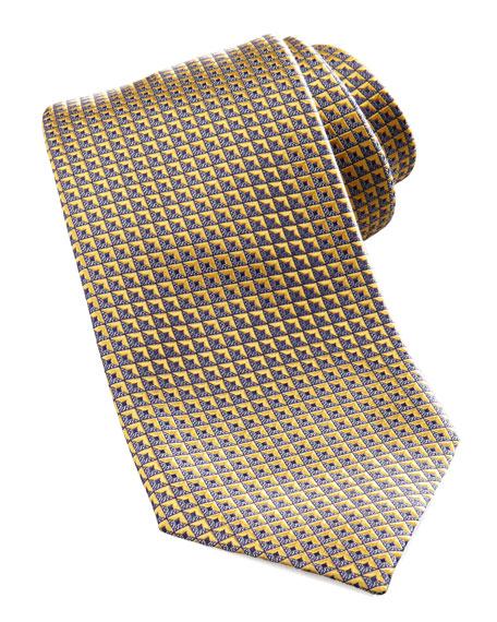 Geometric Silk Tie, Yellow