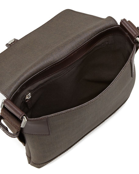 New Form Men's Coated Canvas Messenger Bag, Brown