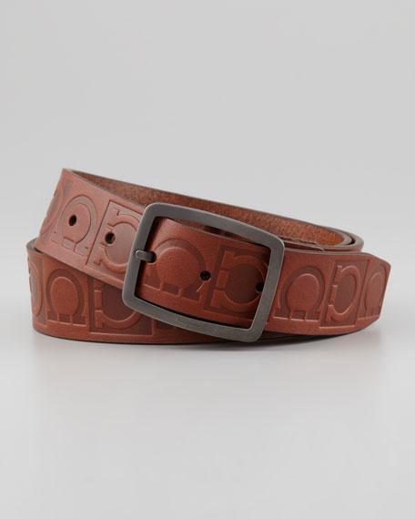Leather Logo-Engraved Gancini Belt, Brown