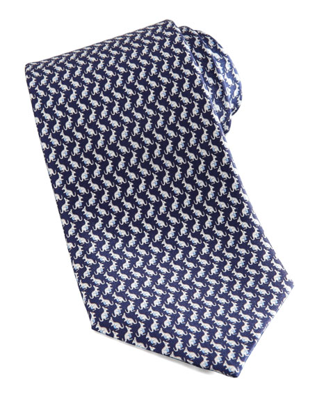 Kangaroo Silk Tie, Navy