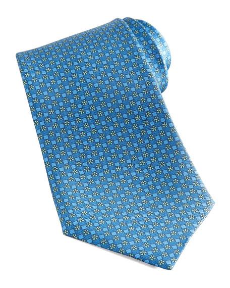 Flowers & Squares Tie, Blue