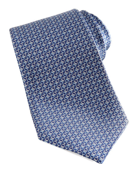 Double-Gancini Silk Tie, Blue