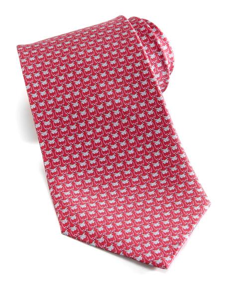 Owl-Print Silk Tie, Red