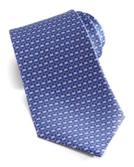 Owl-Print Silk Tie, Blue