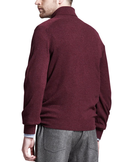 Shawl Collar Cashmere Sweater, Wine