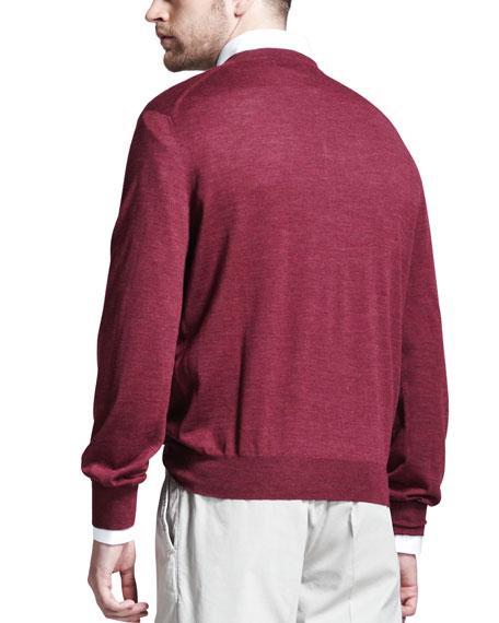 Fine-Gauge V-Neck Sweater, Maroon