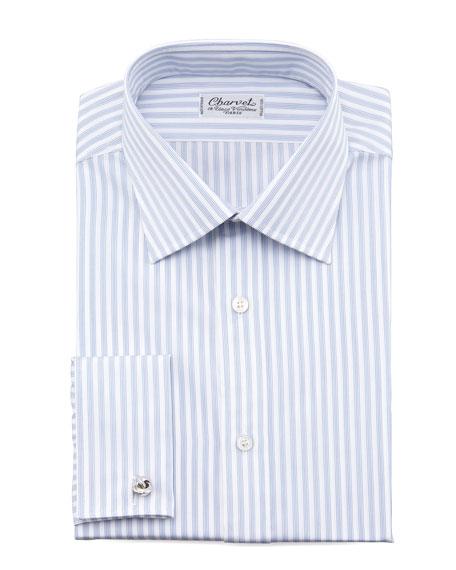 Striped French-Cuff Dress Shirt, White