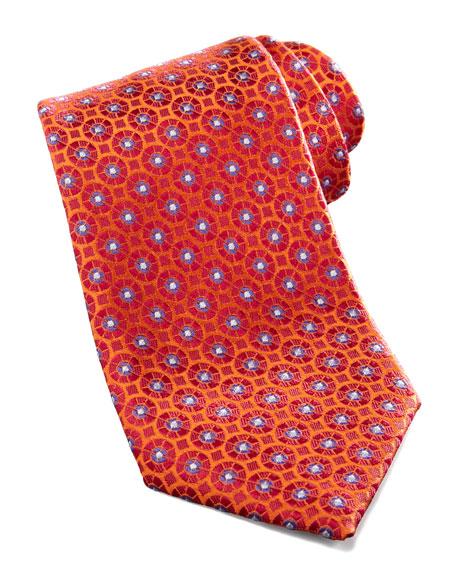 Medallion Silk Tie, Orange/Red