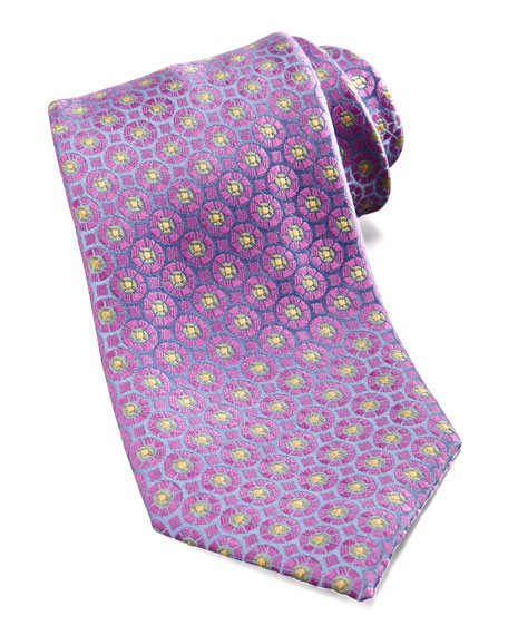 Medallion Silk Tie, Blue/Lavender