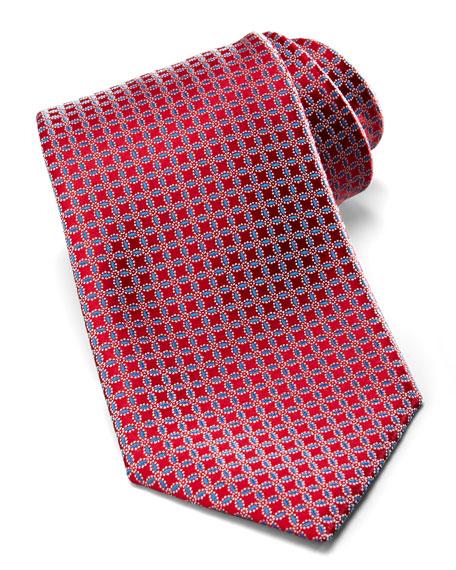 Neat-Circle Silk Tie, Maroon/Navy