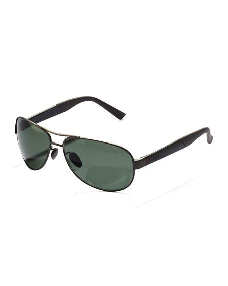 Metal Polarized Navigator Sunglasses, Ruthenium