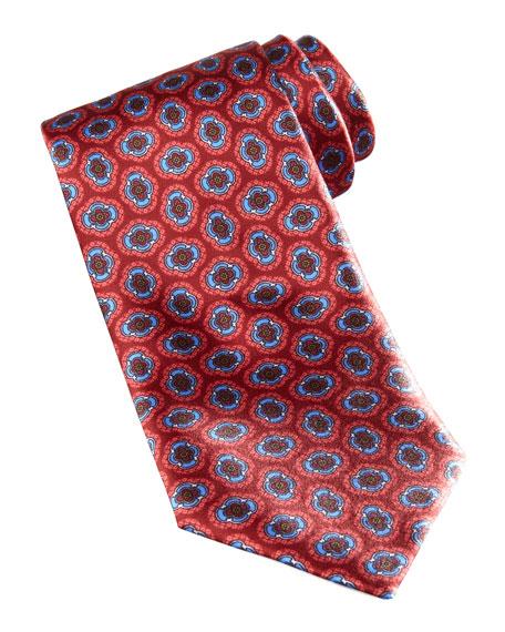 Large Floral-Medallion Silk Tie, Orange